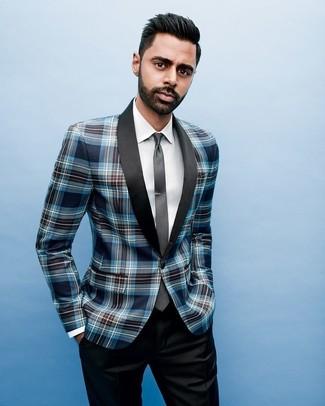 Как и с чем носить: темно-синий пиджак в шотландскую клетку, белая классическая рубашка, черные классические брюки, черный галстук