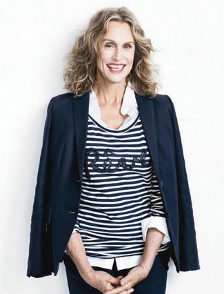 темно синий пиджак бело темно синий свитер с круглым вырезом белая классическая рубашка large 13379