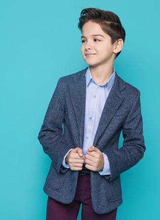 Как и с чем носить: темно-синий пиджак, голубая рубашка с длинным рукавом, темно-пурпурные брюки