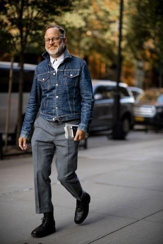 Модные мужские луки 2020 фото: Несмотря на то, что этот образ довольно классический, дуэт темно-синей джинсовой куртки и серых шерстяных классических брюк приходится по душе джентльменам, покоряя при этом сердца представительниц прекрасного пола. Заверши образ черными кожаными ботинками броги, если боишься, что он получится слишком строгим.