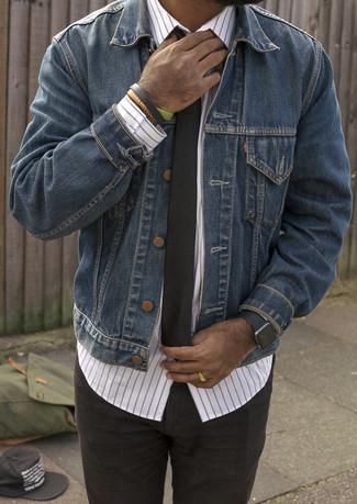 Мужская темно-синяя джинсовая куртка от Replay