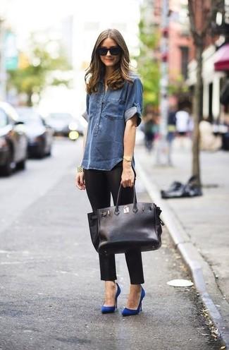 темно синяя джинсовая рубашка черные леггинсы синие туфли large 899