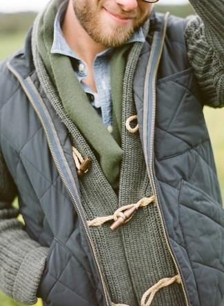 Мужской оливковый шарф от Topman