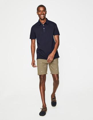 Мужская темно-синяя футболка-поло от River Island