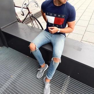 Мужская темно-синяя футболка с круглым вырезом с принтом от Love Moschino
