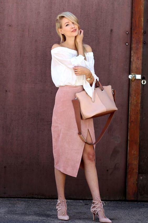 Топ с открытыми плечами и юбка