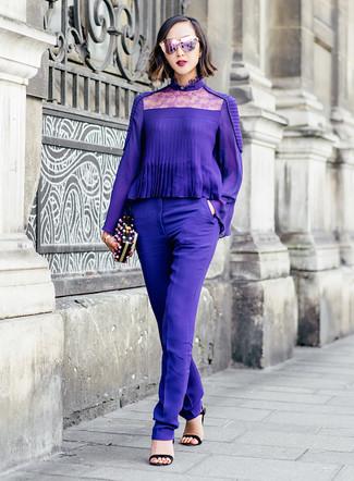a1546d17a88 ... Модный лук  фиолетовая блузка с длинным рукавом
