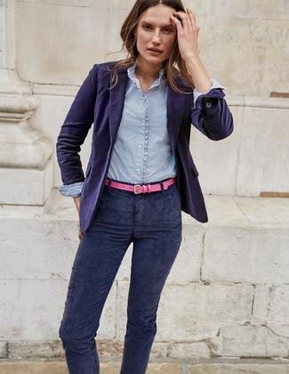 58c02b0ec36d С чем носить темно-синие вельветовые брюки женщине? Модные луки (5 ...