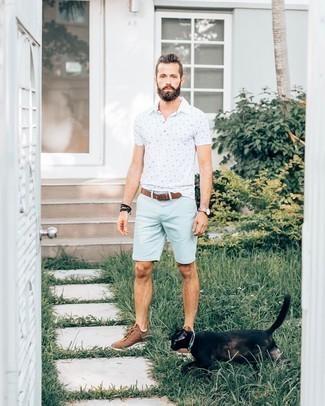 Мужская белая футболка-поло с принтом от Atributika & Club™