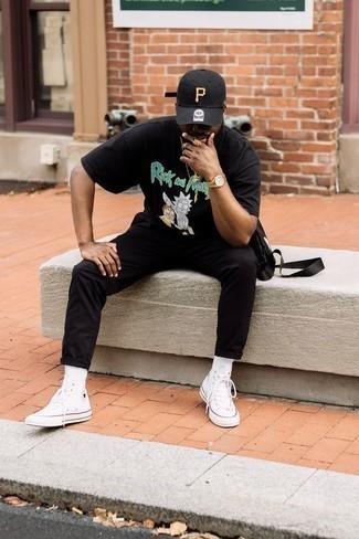 Мужская черная бейсболка с принтом от Atributika & Club™