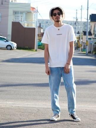 Мужская белая футболка с круглым вырезом с принтом от Everlast