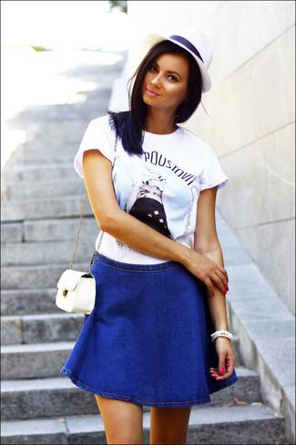 cab3256385a5 С чем носить синюю юбку-трапецию? Модные луки (5 фото) | Женская ...
