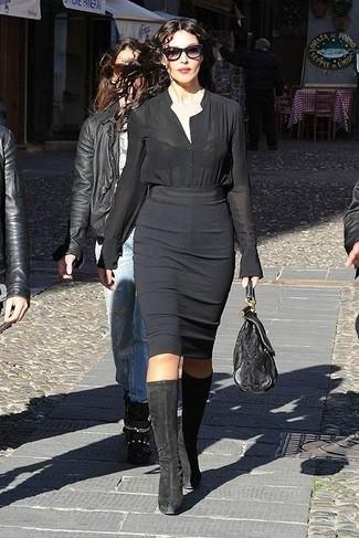 черная блуза на пуговицах черная юбка карандаш черные сапоги large 13810