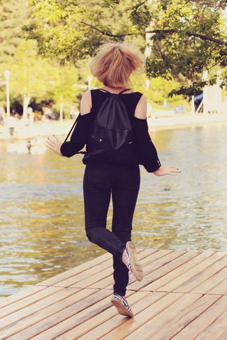 Черная блузка с длинным рукавом от Thomas Wylde