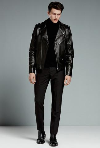 Как и с чем носить: черная кожаная косуха, черная водолазка, черные классические брюки, черные кожаные ботинки челси
