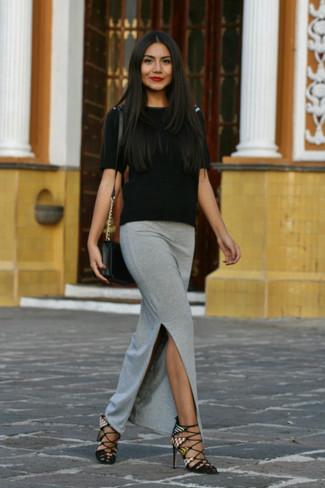 e03e32f40b0 Как носить серую длинную юбку с черной кофтой с коротким рукавом ...