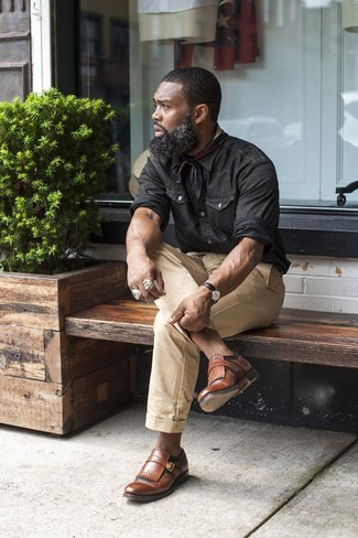 Мужская черная рубашка с длинным рукавом от Topman