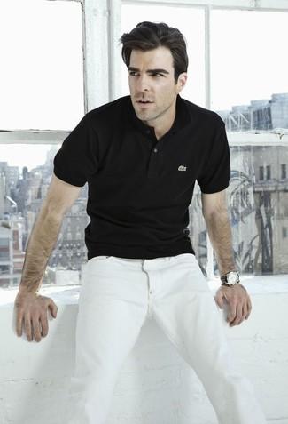 черная футболка поло белые джинсы черные кожаные часы large 12351