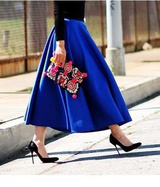 С чем носить синюю пышную юбку