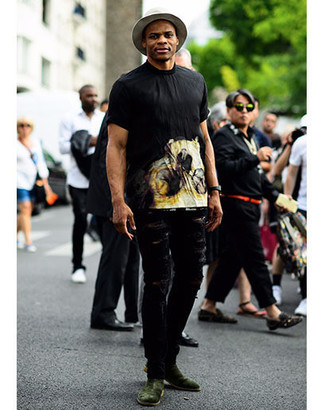 Мужская черная футболка с круглым вырезом с принтом от Topman