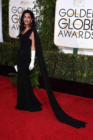 черное вечернее платье белый кожаный клатч белые длинные перчатки large 7571