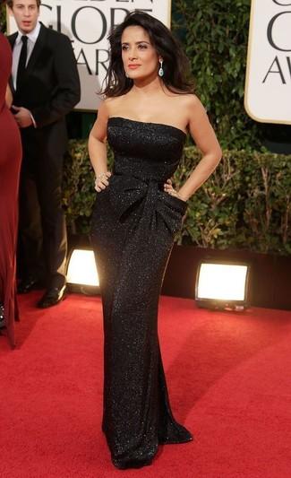 черное вечернее платье с пайетками голубые серьги large 22905