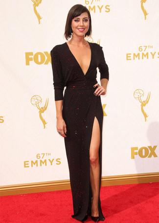 черное вечернее платье с разрезом черные кожаные туфли large 13692