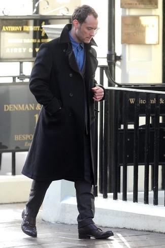 черное длинное пальто темно серый костюм синяя рубашка с длинным рукавом large 1325