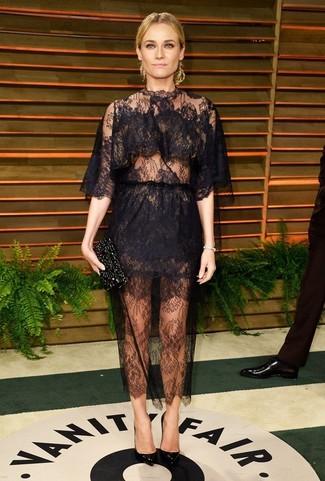 черное кружевное вечернее платье черные кожаные туфли черный клатч с украшением large 1401