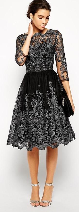 Черные кружевные платья с пышной юбкой