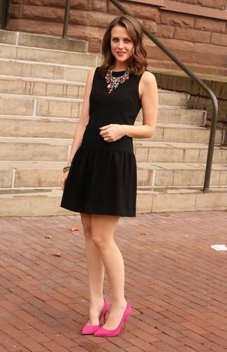 Черное платье с розовой юбкой