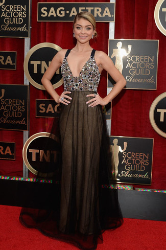 черное шифоновое вечернее платье с украшением large 8013