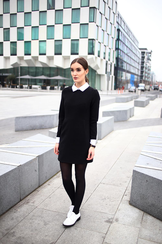Черно белое платье какие колготки