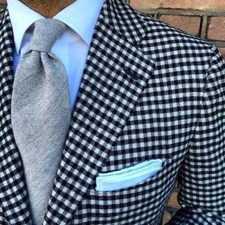 Как и с чем носить: черно-белый пиджак в мелкую клетку, белая классическая рубашка, серый шерстяной галстук, белый нагрудный платок