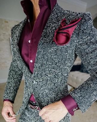 Как и с чем носить: черно-белый твидовый пиджак, пурпурная классическая рубашка, красный шелковый нагрудный платок