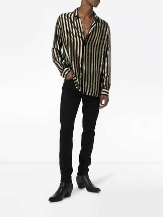 Как и с чем носить: черно-золотая рубашка с длинным рукавом в вертикальную полоску, черные джинсы, черные кожаные ботинки челси