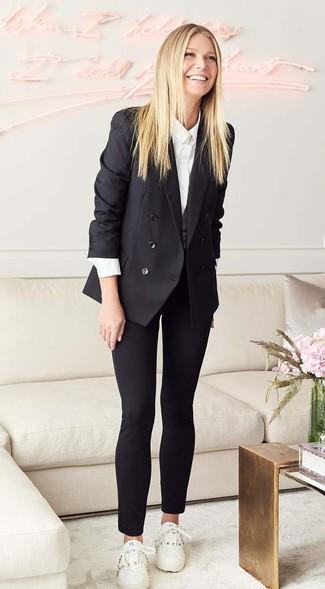 черный двубортный пиджак белая классическая рубашка черные узкие брюки large 27207