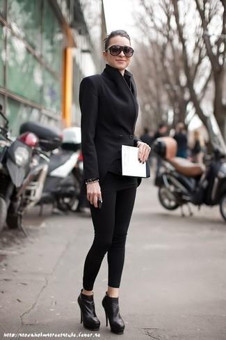Черные кожаные ботильоны от Sweet Shoes