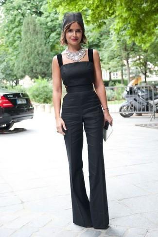 Как и с чем носить: черный комбинезон, серебряное колье
