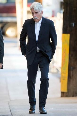 Как и с чем носить: черный костюм, белая классическая рубашка, черные кожаные ботинки челси