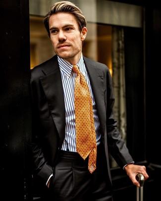 Как и с чем носить: черный костюм, бело-синяя классическая рубашка в вертикальную полоску, оранжевый галстук с принтом