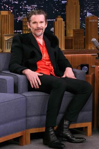 Как и с чем носить: черный костюм, красная шелковая рубашка с длинным рукавом, черные кожаные ботинки челси