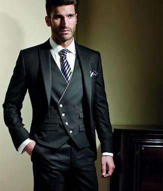 Как и с чем носить  черный костюм-тройка, белая классическая рубашка, черно fb819474a39