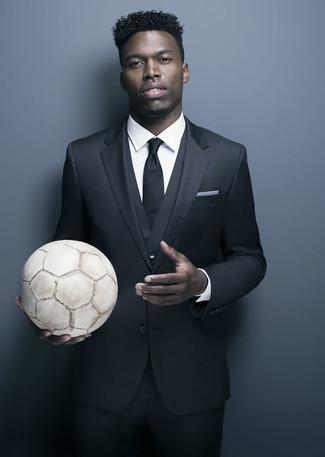 черный костюм тройка белая классическая рубашка черный галстук large 21992
