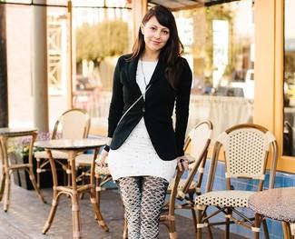 черный пиджак белая туника в горошек черно белые леггинсы с принтом large 2364