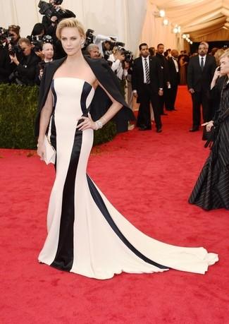 черный пиджак бело черное вечернее платье в вертикальную полоску белый сатиновый клатч large 2265
