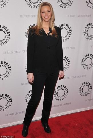 черный пиджак черная блузка с длинным рукавом черные узкие брюки large 23891