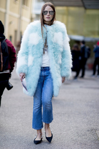 Синие джинсы-клеш от Rinascimento