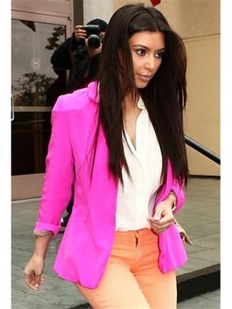ярко розовый пиджак белая шелковая классическая рубашка оранжевые джинсы large 967