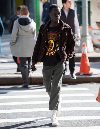 Мужская черная футболка с круглым вырезом с принтом от adidas Combat